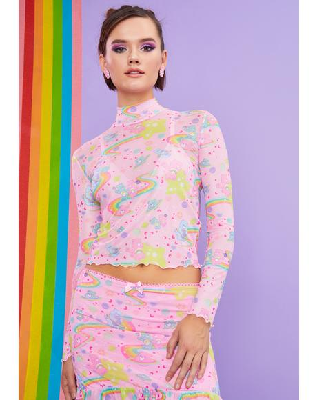 Rainbow Ride Mesh Long Sleeve Top