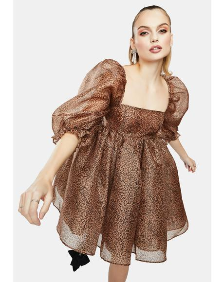 The Cheetah Puff Sleeve Babydoll Dress