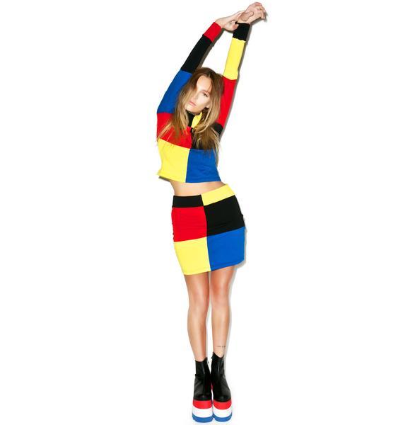 DEVOWEVO Color Blox Skirt