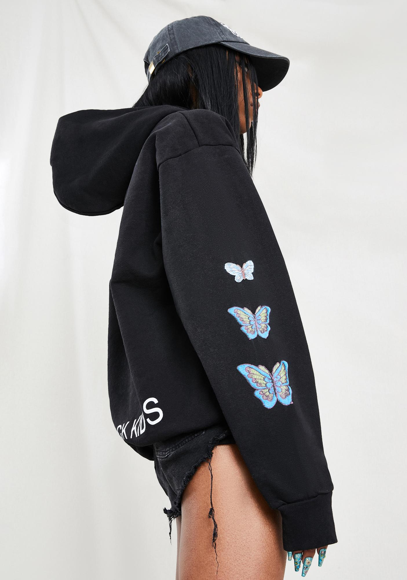 The Rad Black Kids Butterfly Graphic Hoodie