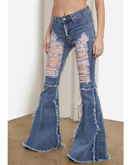 Ocean Friend Or Foe Distressed Flare Jeans