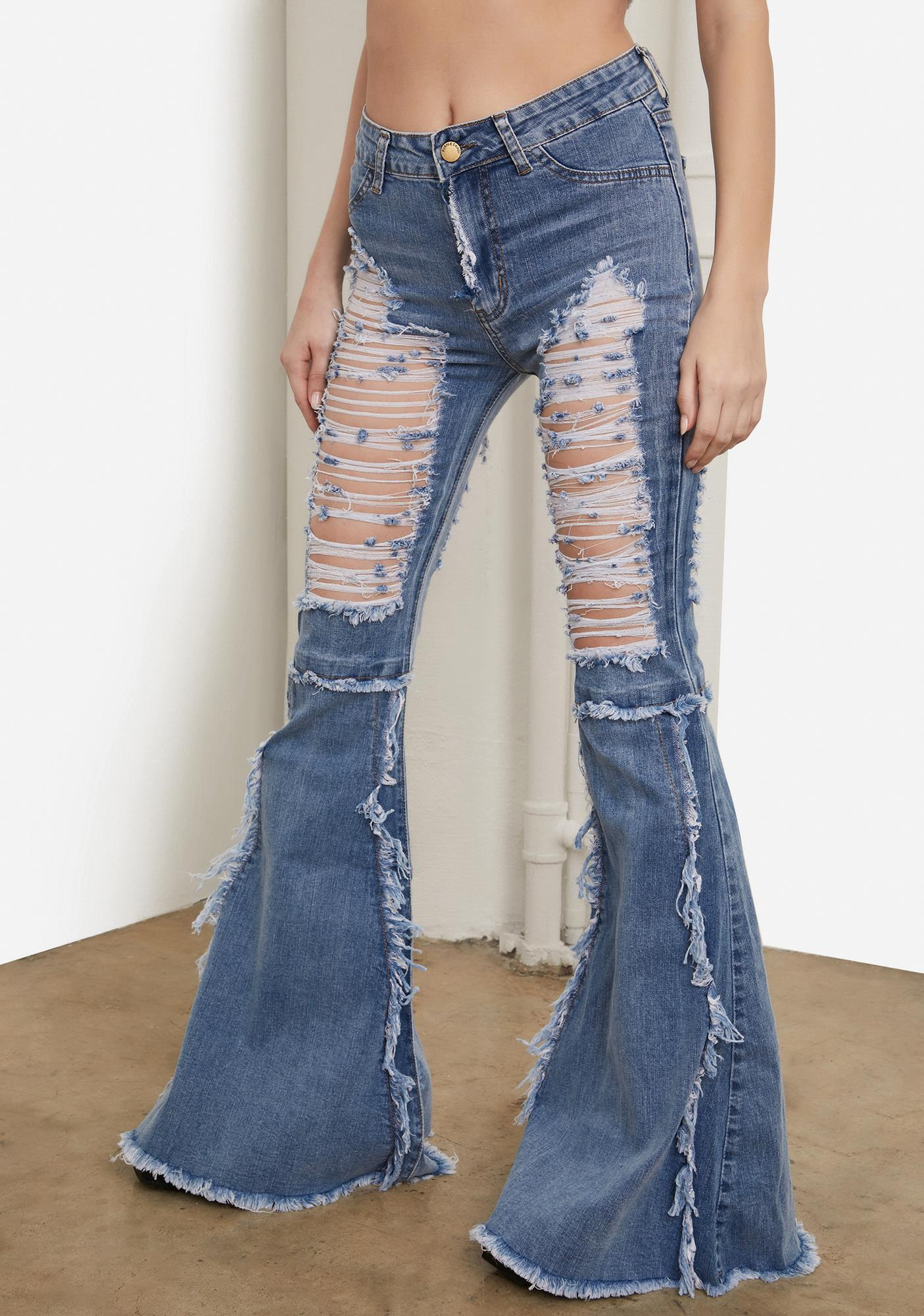 Ocean Friend Or Foe Distressed Flare Jeans