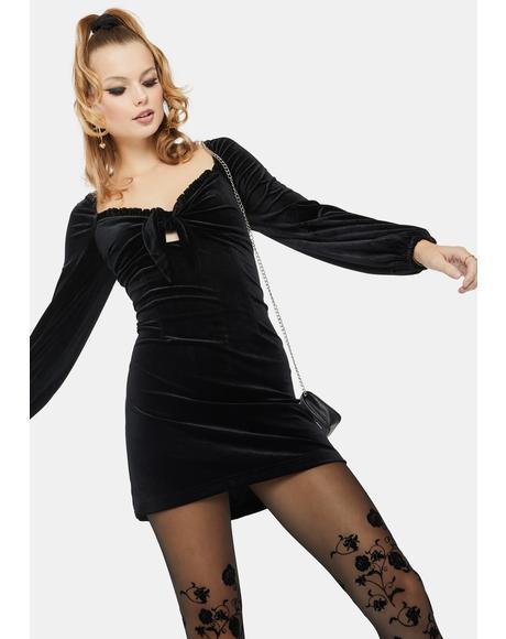 Black Balloon Sleeve Velvet Mini Dress