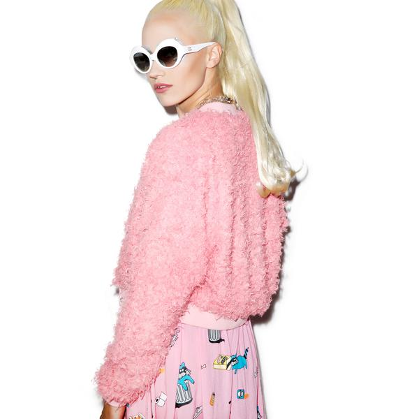 Lazy Oaf Fluffy Pink Bomber Jacket