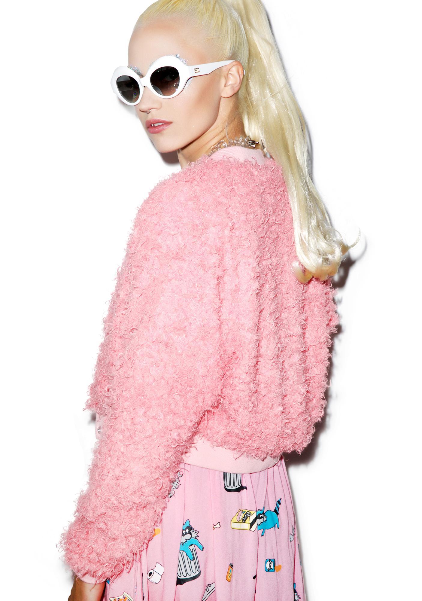 Lazy Oaf Fluffy Pink Bomber Jacket | Dolls Kill