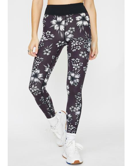 Plum Hibiscus Mesh Sports Leggings
