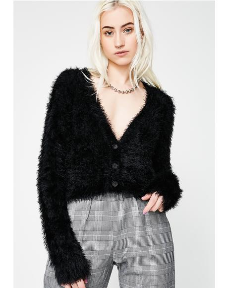 Black Heart Felt Fuzzy Cardigan