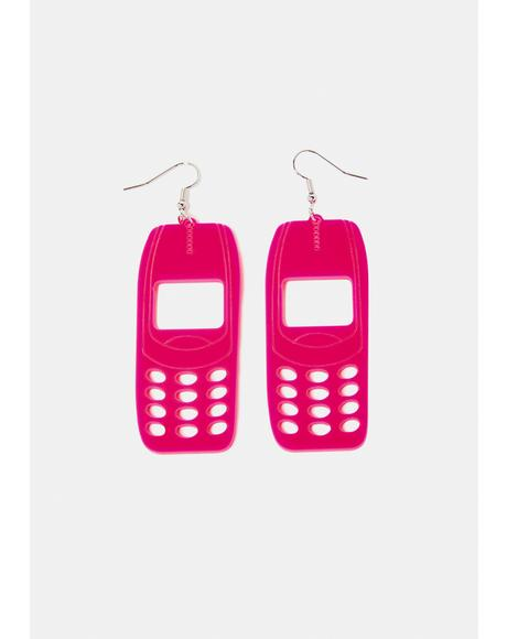 Hot Pink Beep Me Phone Drop Earrings