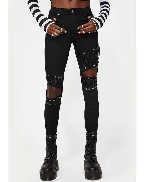 Knee Cut-Out Lace Up Jeans