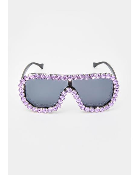 Lavender Locked N' Loaded Aviator Sunglasses