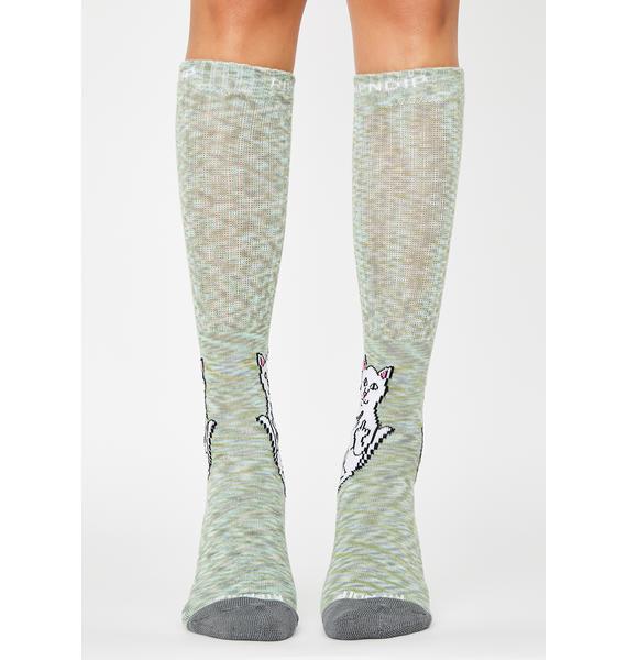 RIPNDIP Grey Speckle Lord Nermal Crew Socks