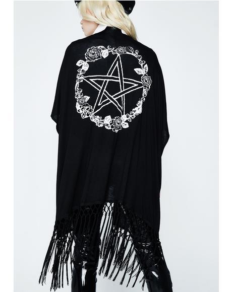 Rose & Pentacle Fringe Kimono