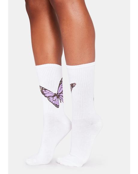 Lilac Swallowtail Sweetness Crew Socks