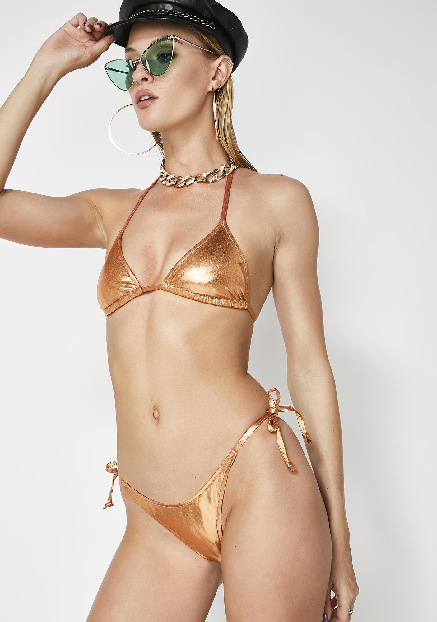 Poster Grl Money Up Metallic Bikini Set