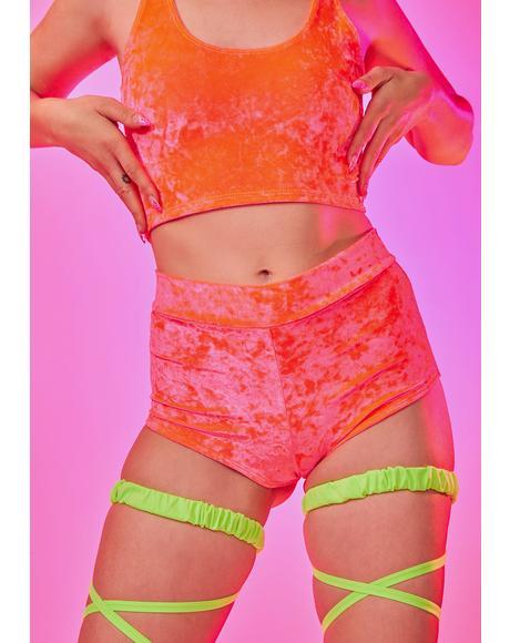 Neon Coral Velvet Cheeky Shorts