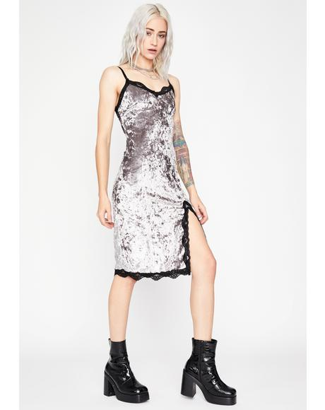 Slate Read Into Me Velvet Dress