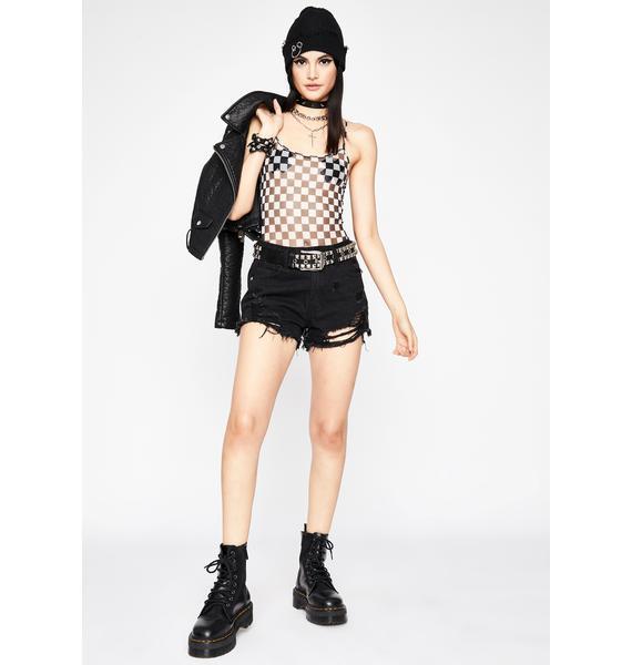 Misfit Tricks Checkered Bodysuit