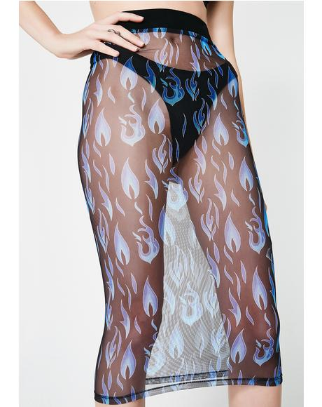 Electric Fire Sheer Skirt