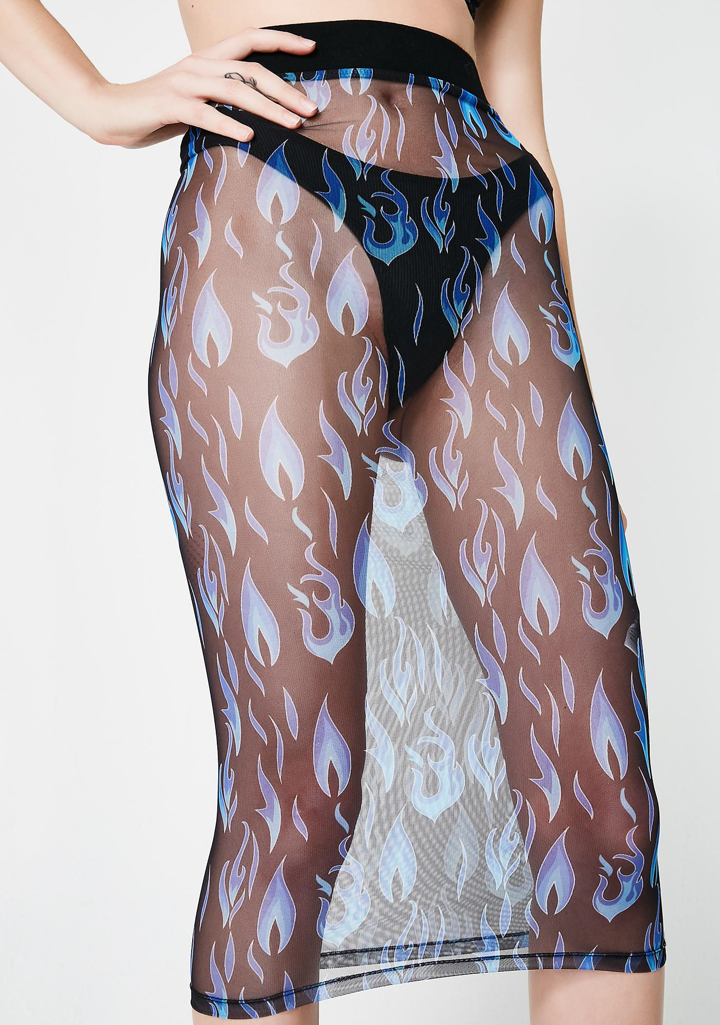 Current Mood Electric Fire Sheer Skirt