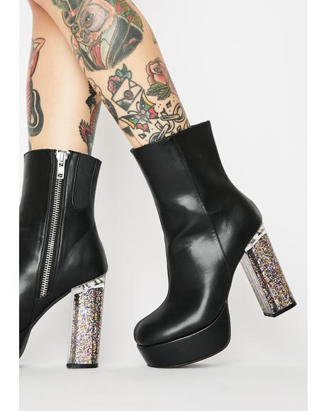 Saturn's Force Glitter Heel Boots