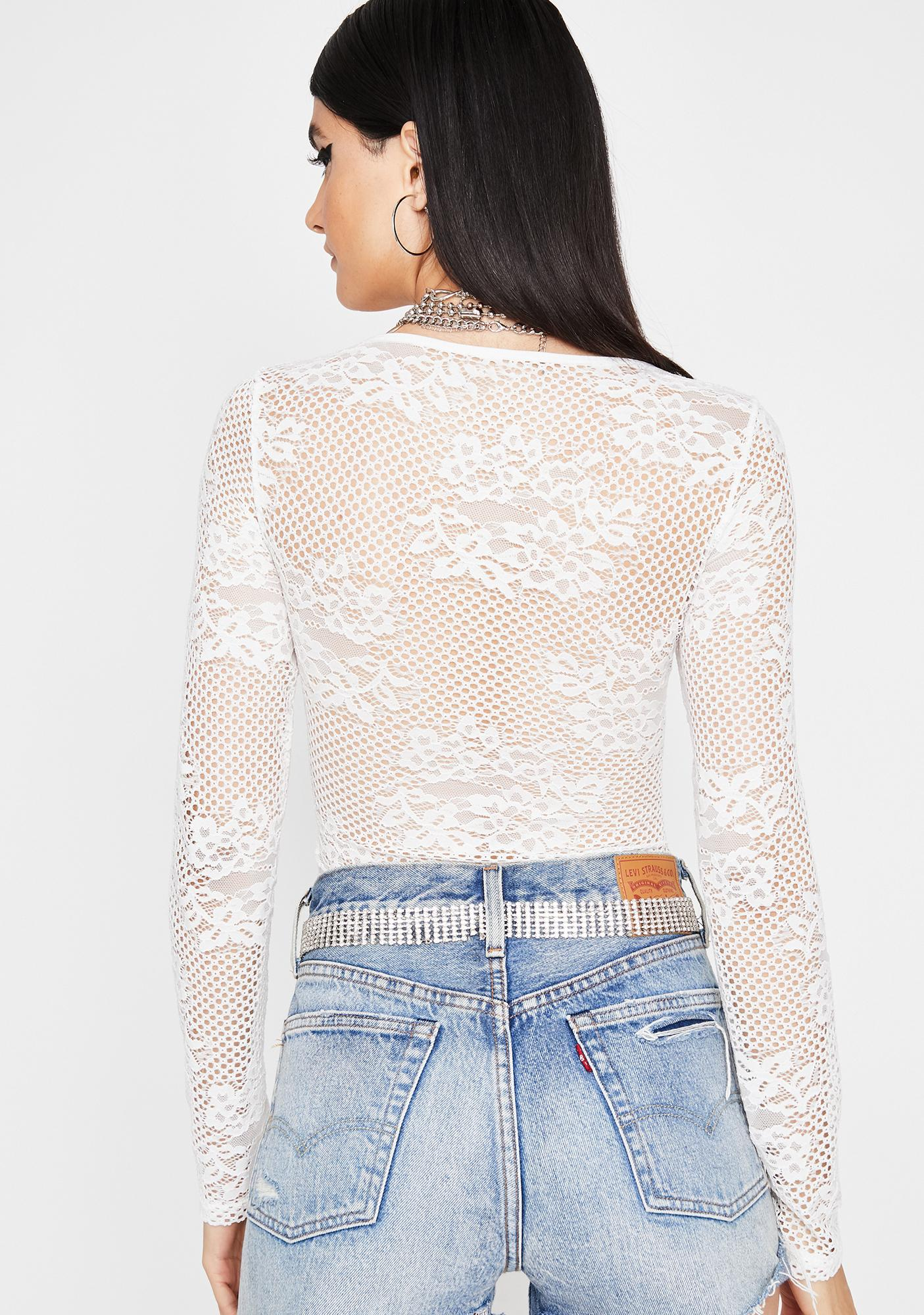Frosted Keep It Kinky Lace Bodysuit