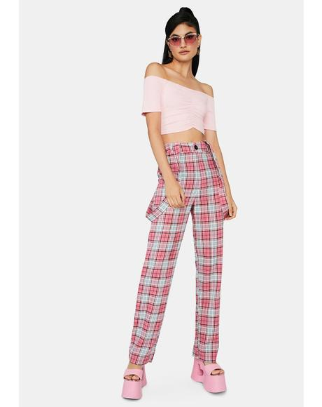 Take My Lead Suspender Plaid Pants