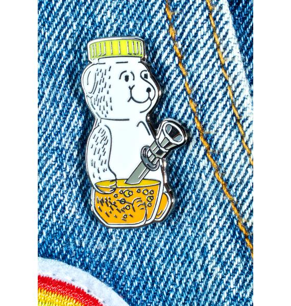 No Hours Honey Bear Pin