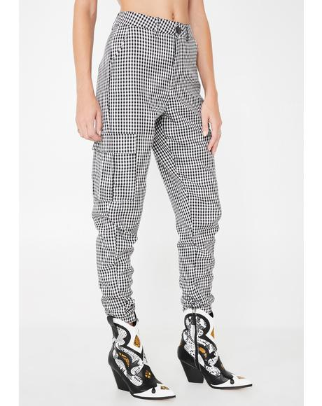 Gingham Print Utility Trousers