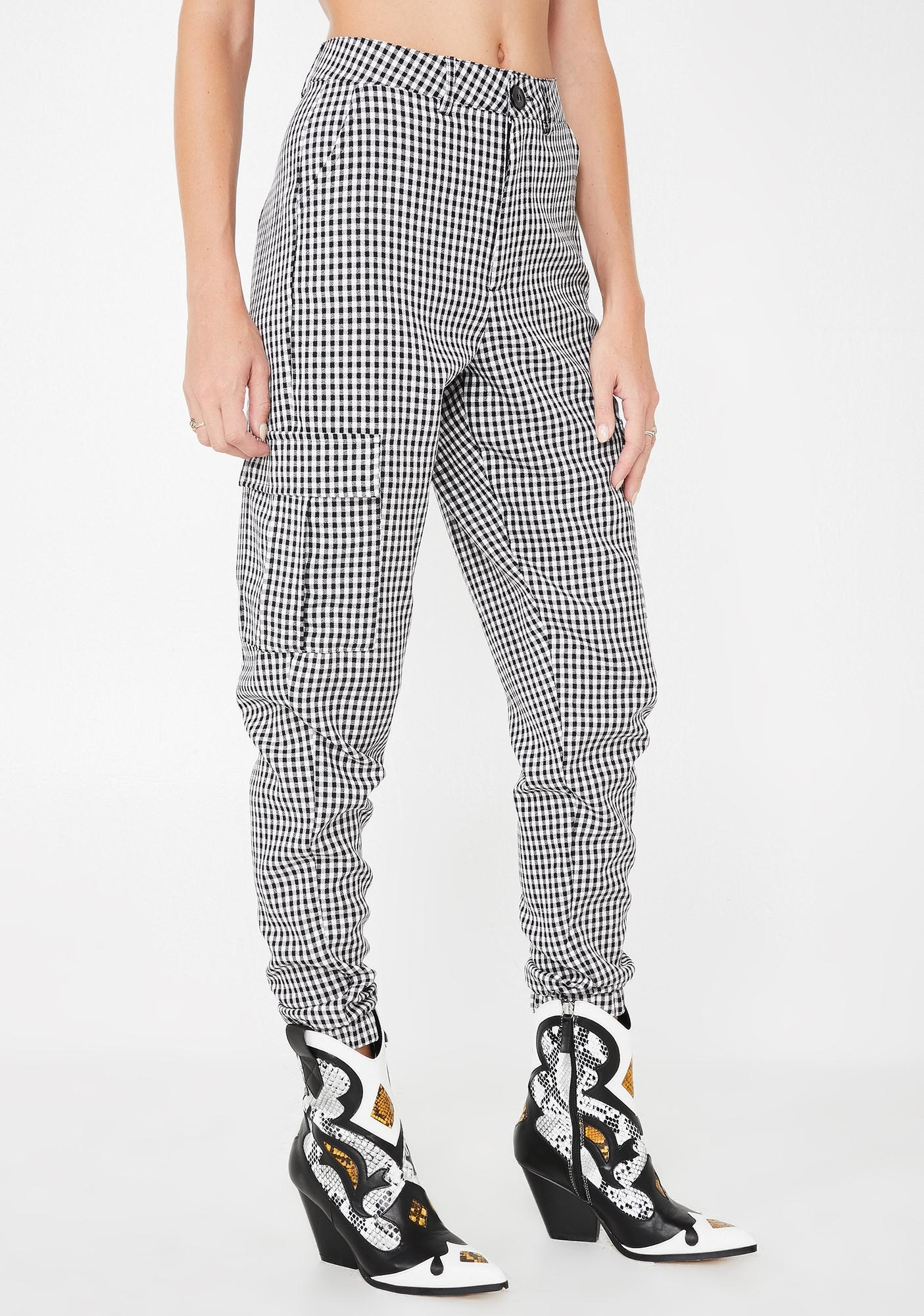 Daisy Street Gingham Print Utility Trousers