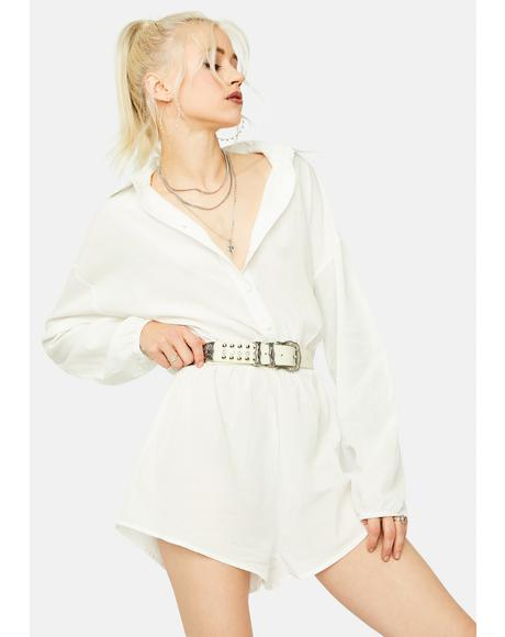 Risky Glance Long Sleeve Button Up Romper