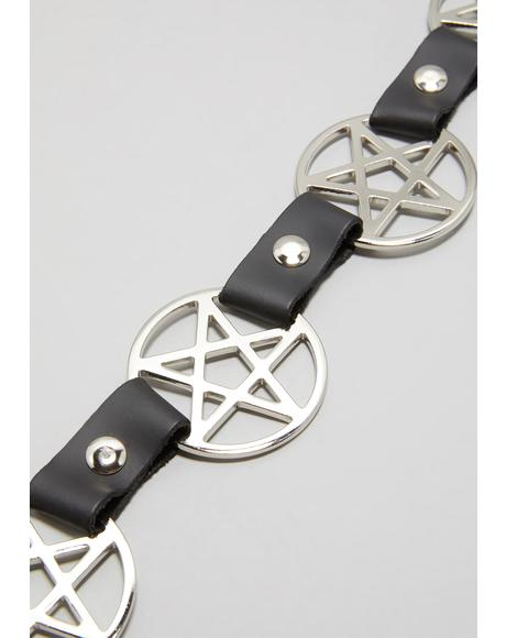 Pentagram Cross Chain Belt