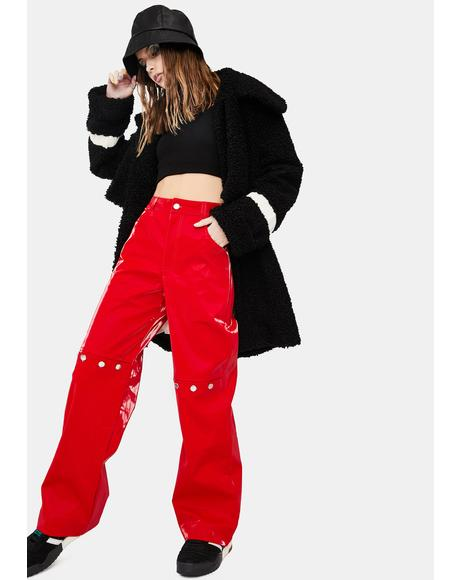 Red Rebel Faux Leather Trousers