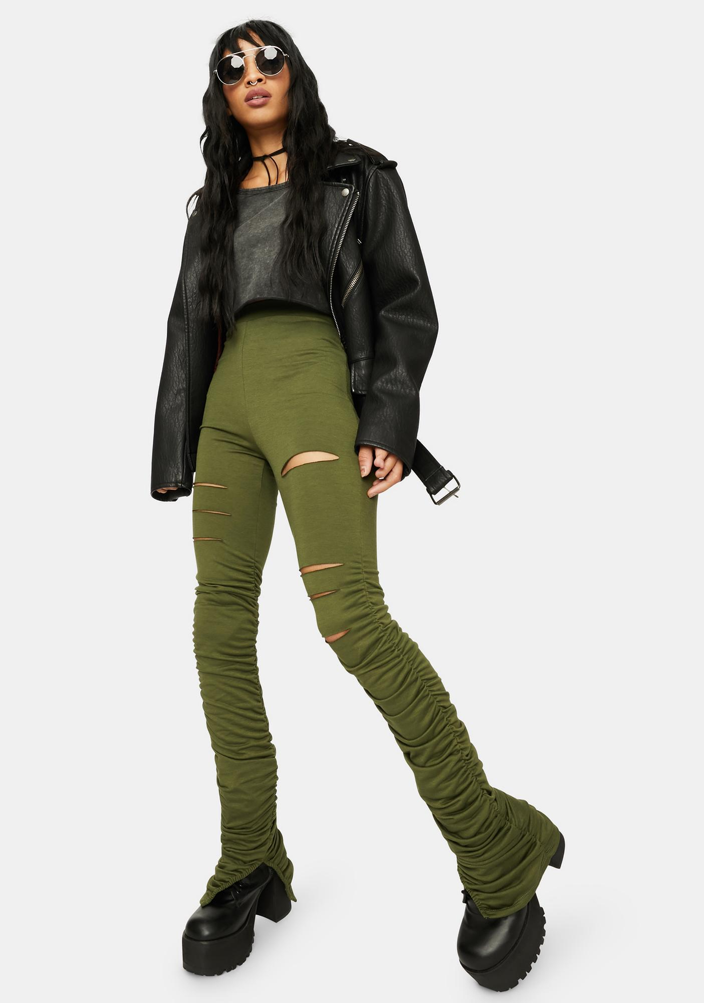 Olive Nothing Lasts Forever Ruched Pants