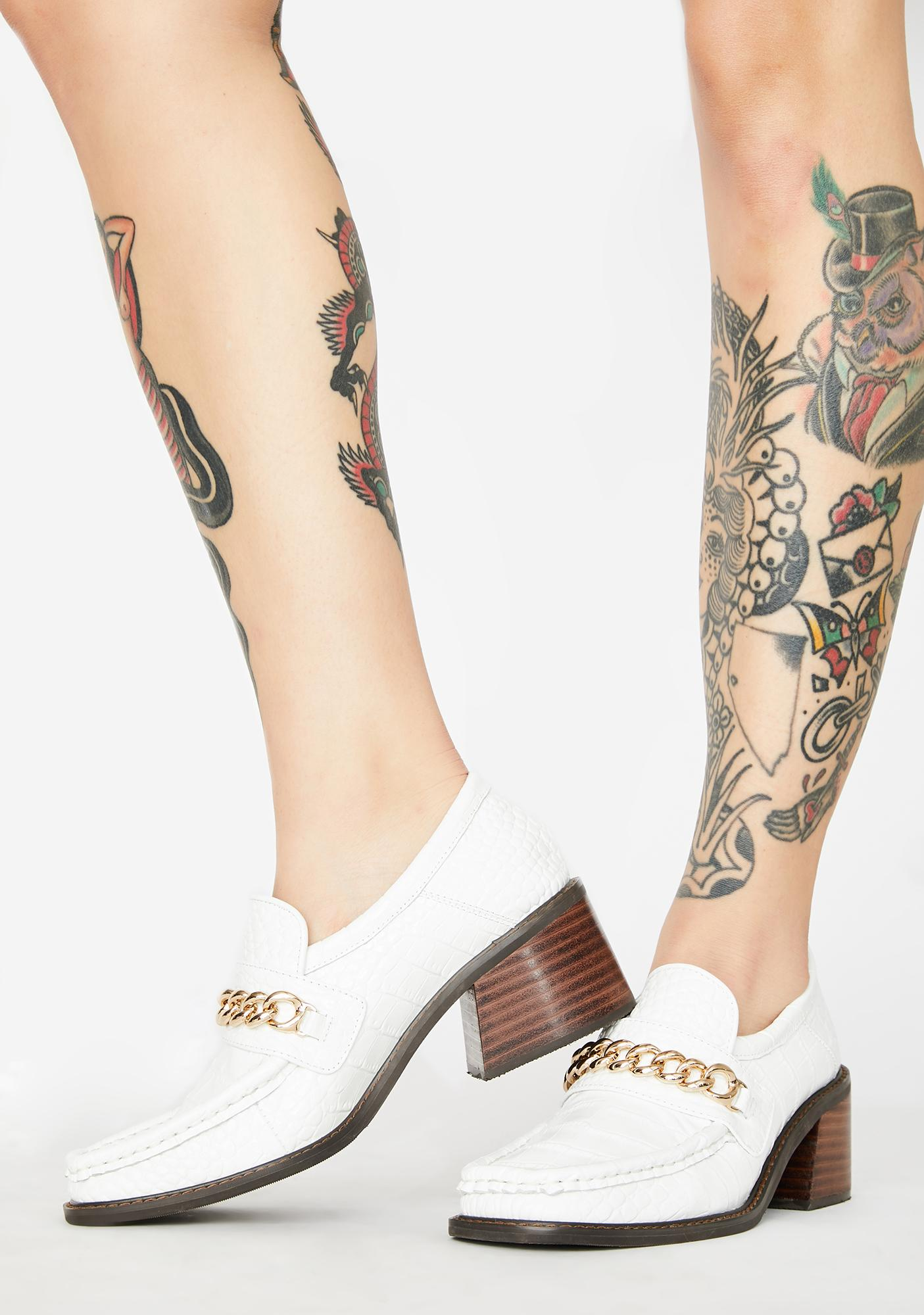 No Dress Gold Chain Crocodile Leather Loafers