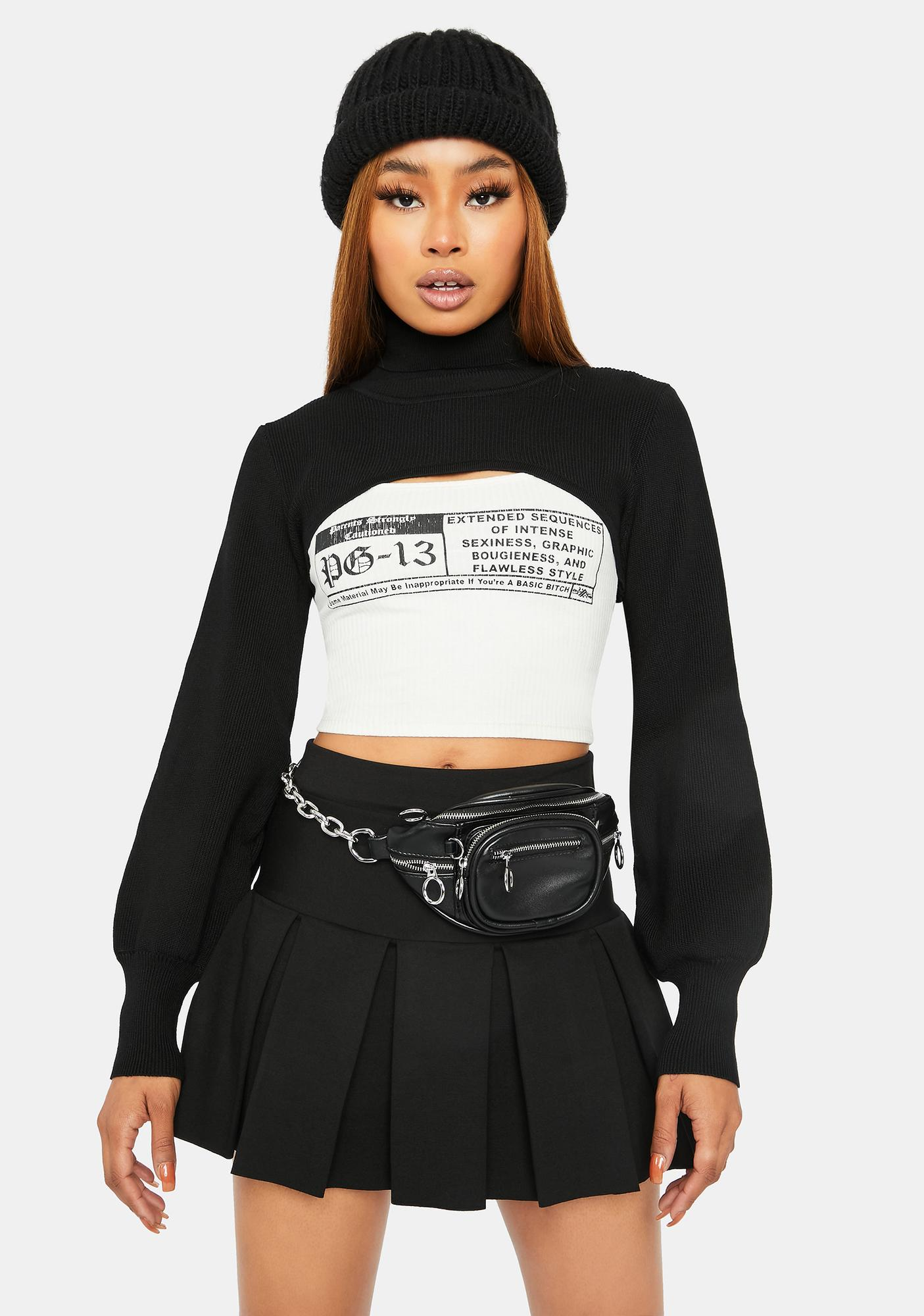 Dark Way Out There Cropped Turtleneck Shrug