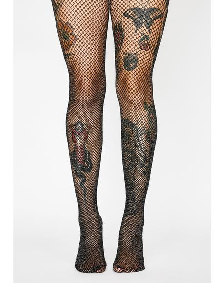 Glitter Glamour Fishnet Tights