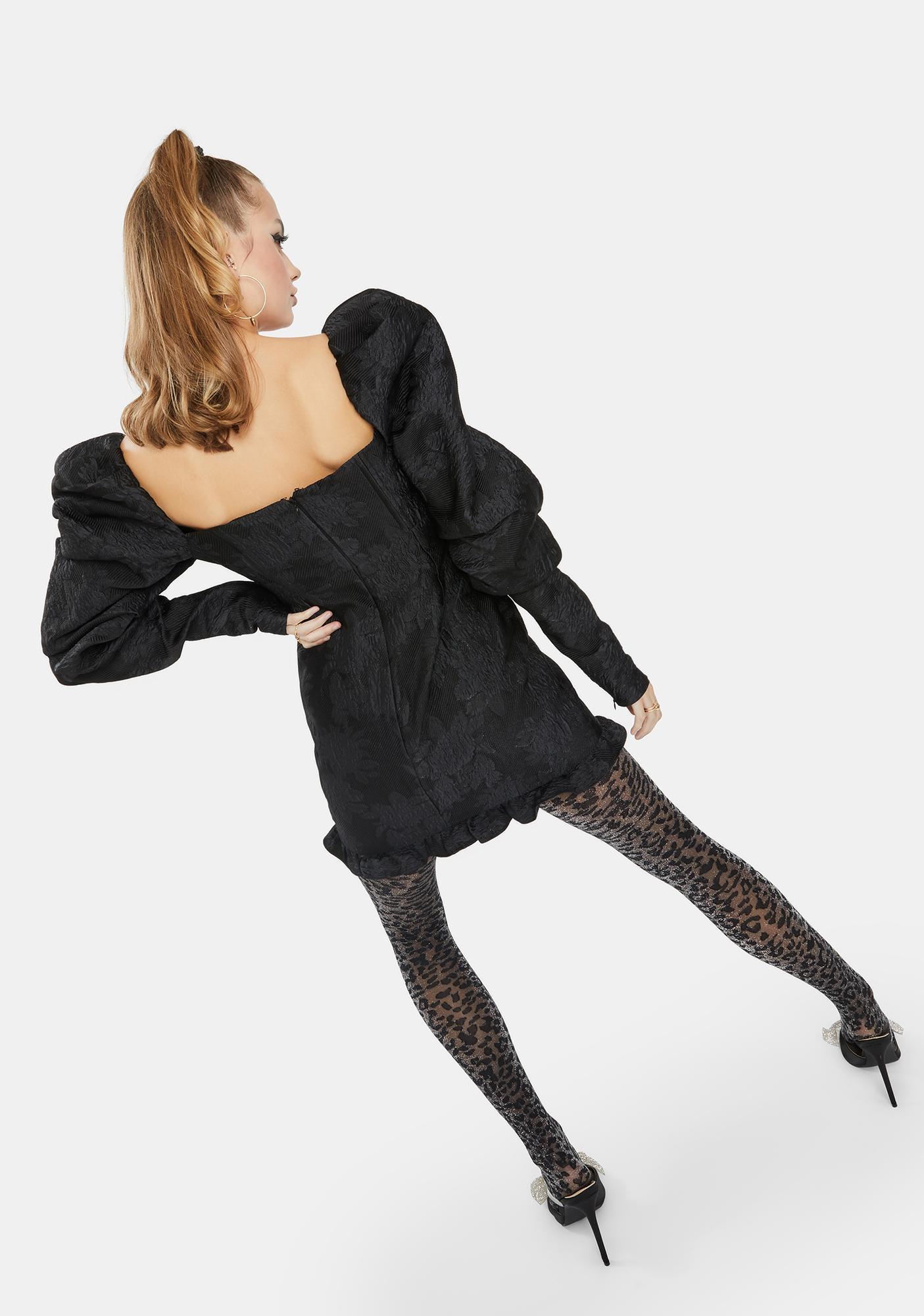 Glamorous Black Textured Extra Puff Sleeve Mini Dress