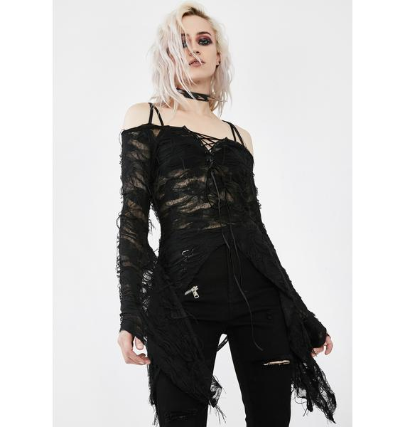 Punk Rave Live To Die Black Butterfly Sleeve Top