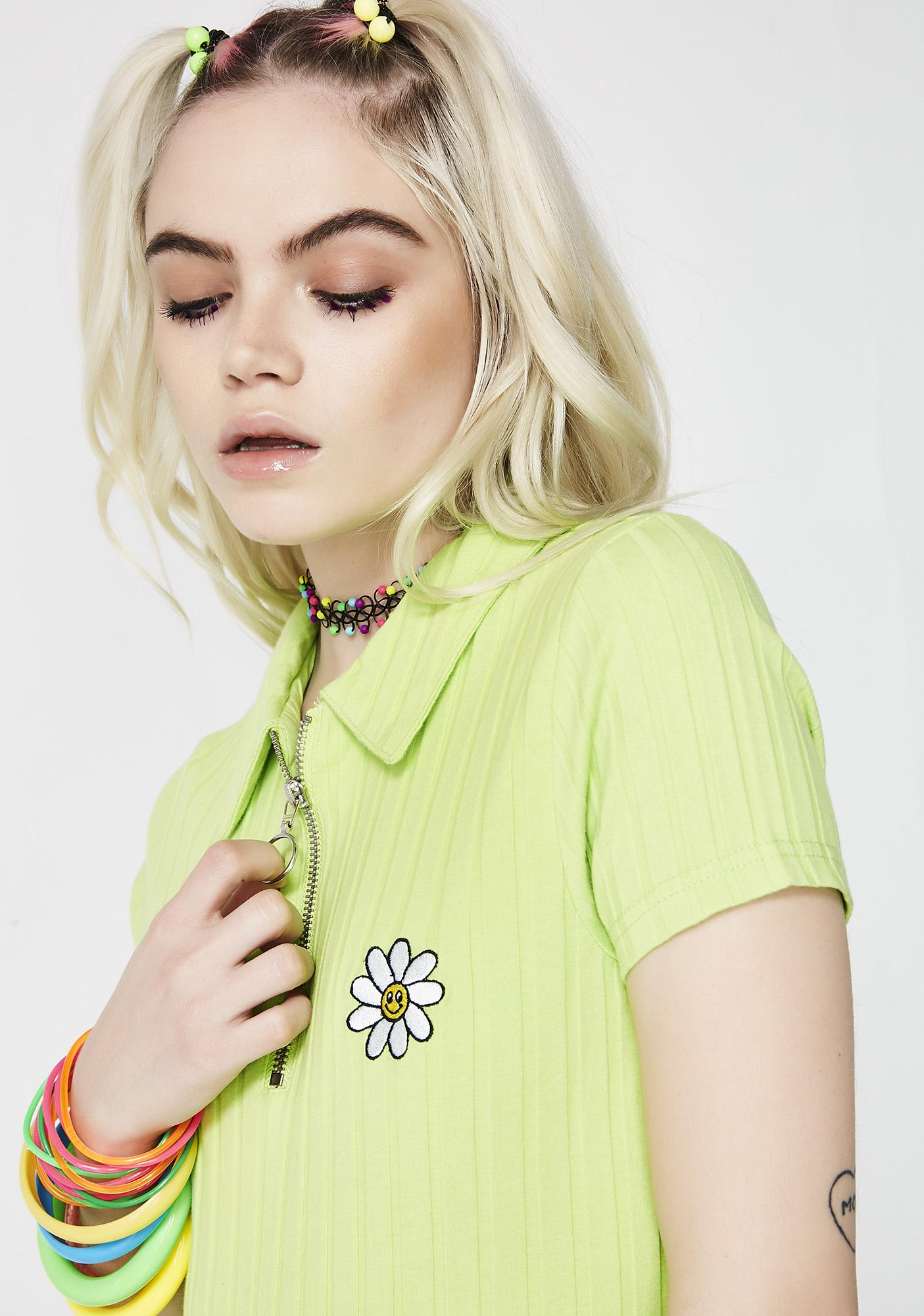 Lazy Oaf Flower Zip Tee