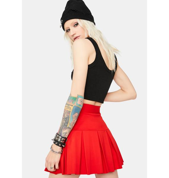 Cherry Wicked Scholar Pleated Mini Skirt