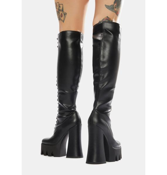 Lamoda Queen Knee High Lace-Up Boots