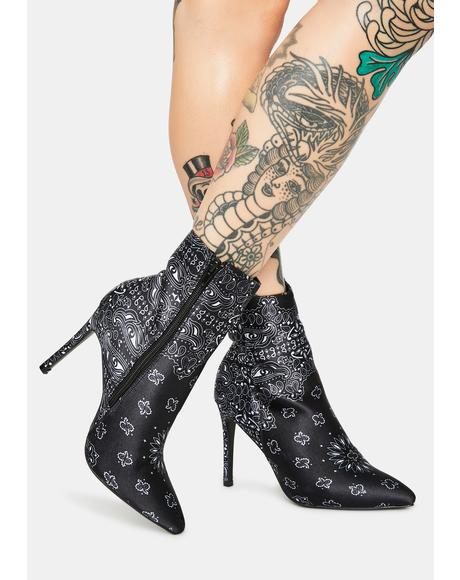 Midnight Rarest Rose Heeled Ankle Boots