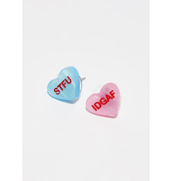 VINCA Anti Conversation Heart Earrings