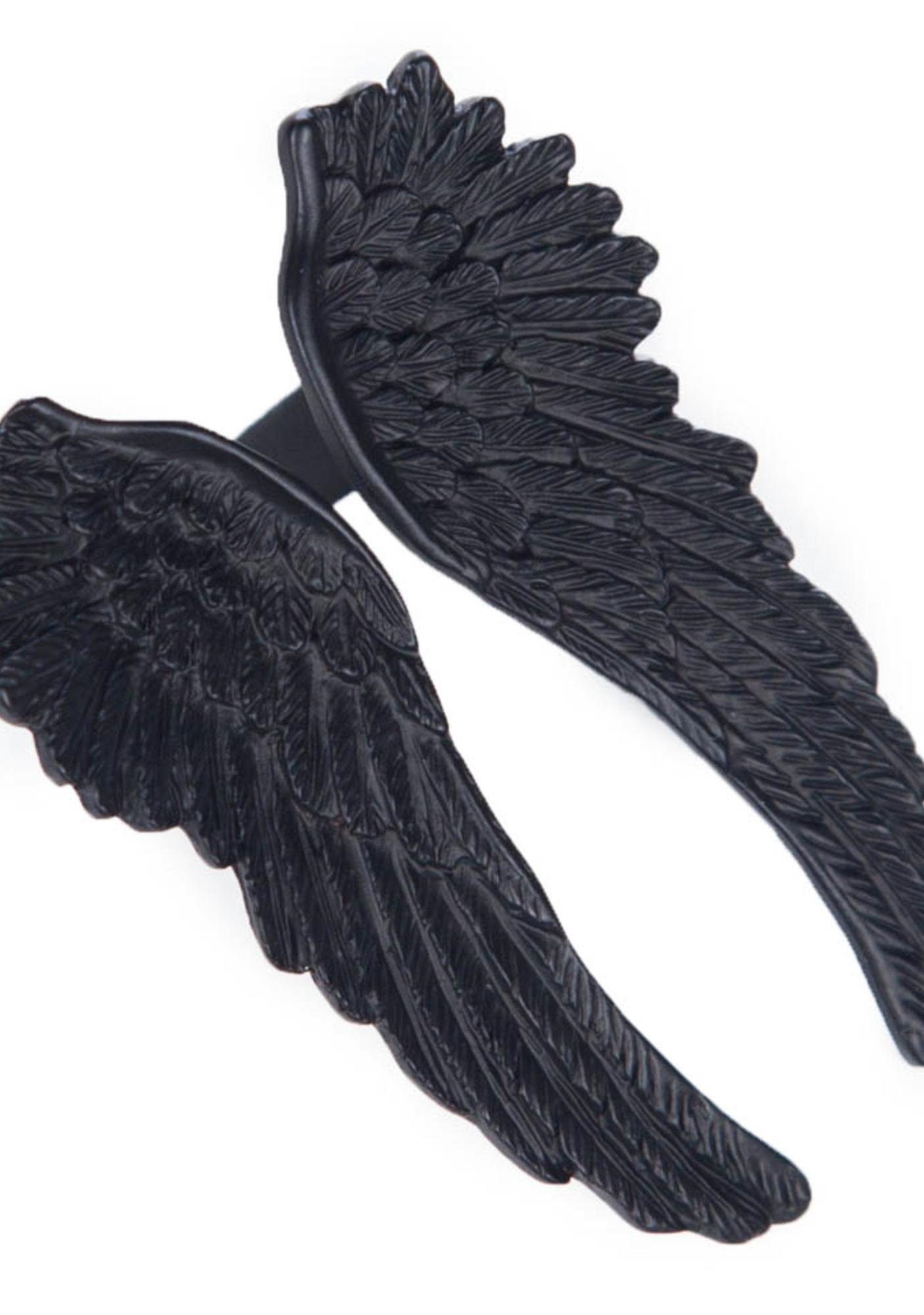 Wildfox Couture Matte Black Angel Wing Ring