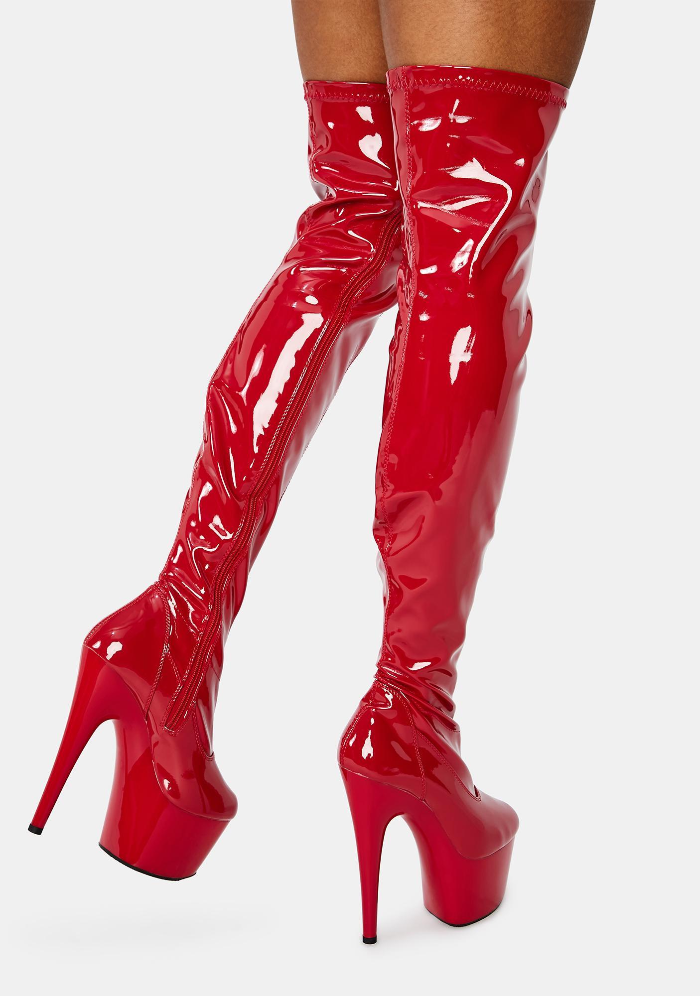 Pleaser Crimson Club Strut Thigh High Boots