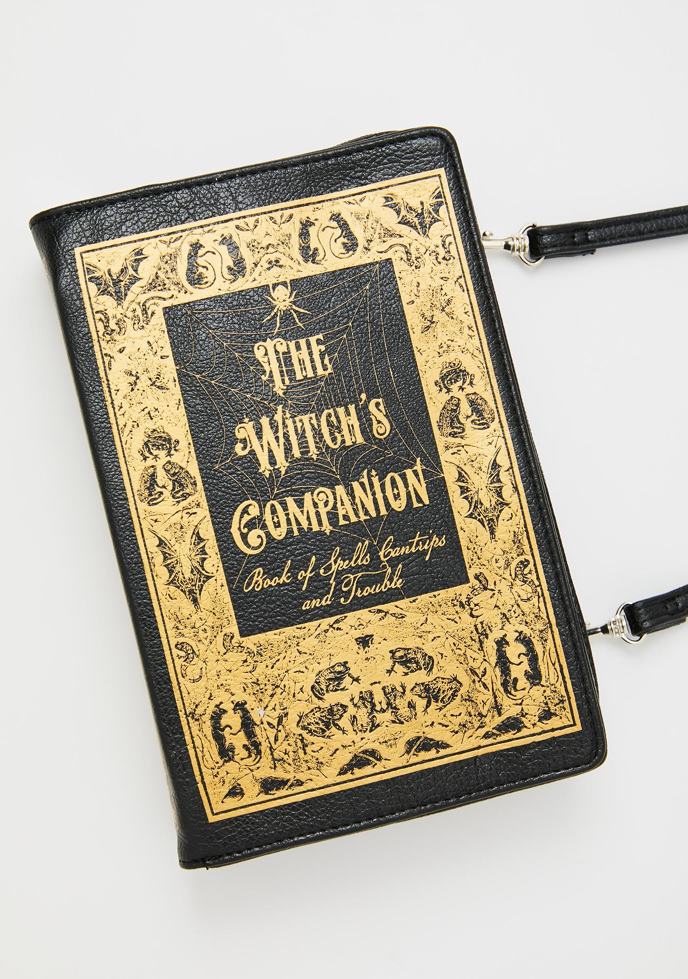 Black and Gold Witch/'s Companion Book Crossbody Purse