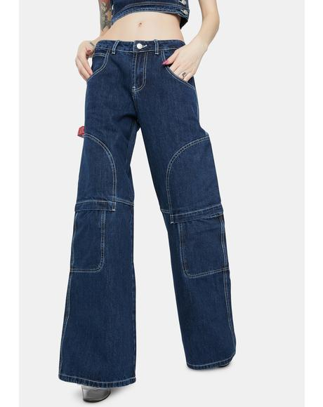 Oversized Low Rise Skater Jeans With Contrast Stitching