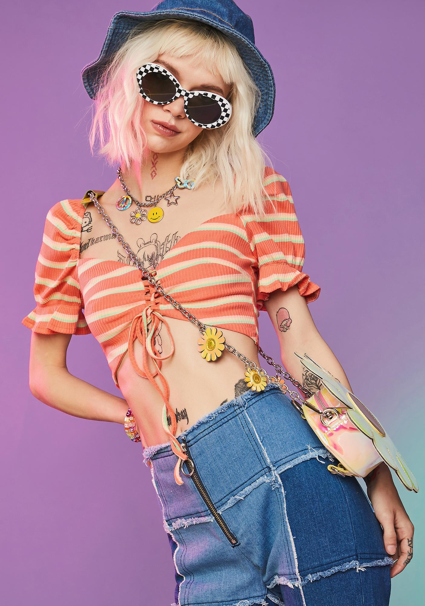 Feel The Energy Lace Up Crop Top