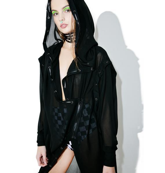 Punk Rave Darkness Falls Sheer Trench Coat