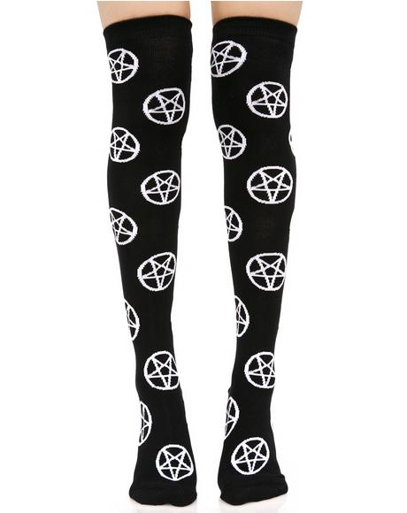 Pentagram Over The Knee Socks